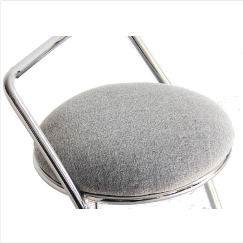 Bar Stool In Gray PU Leather & Chrome Base - image-4