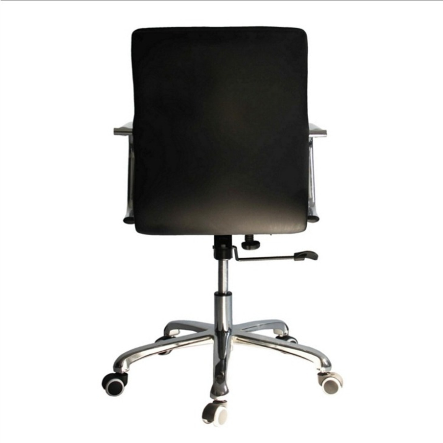 Office Chair In Mid-Back Black Leatherette Finish - image-2