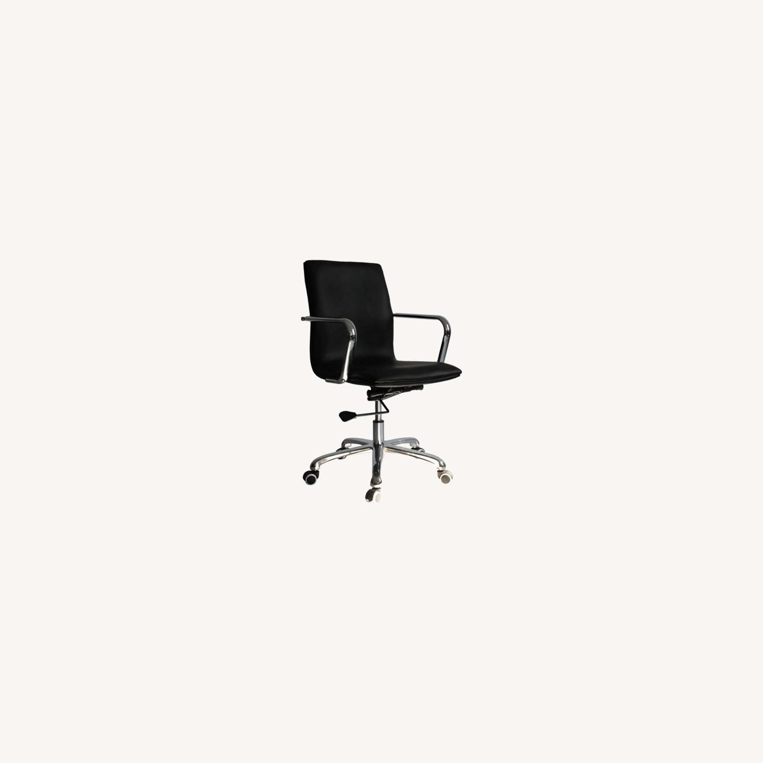 Office Chair In Mid-Back Black Leatherette Finish - image-6