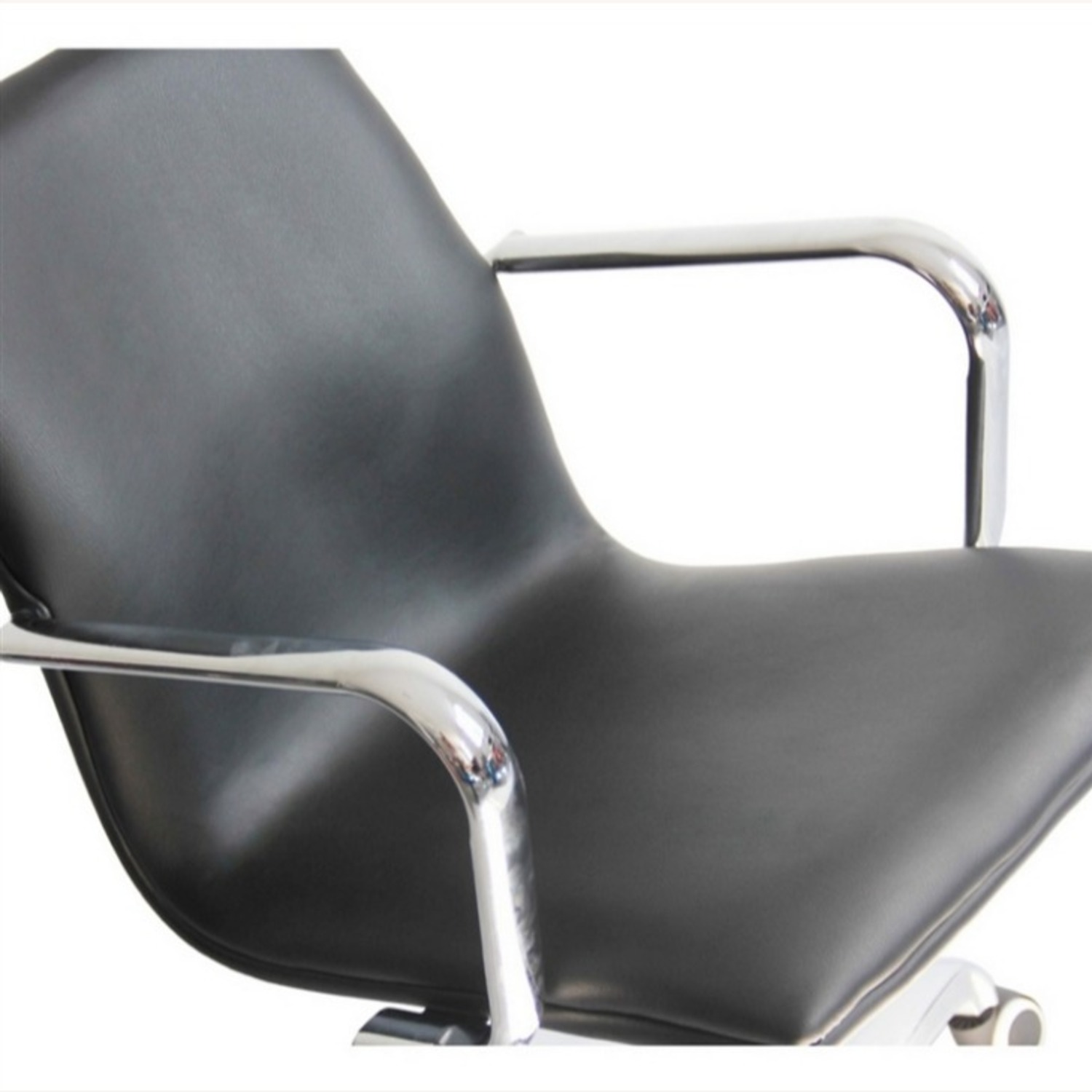 Office Chair In Mid-Back Black Leatherette Finish - image-4