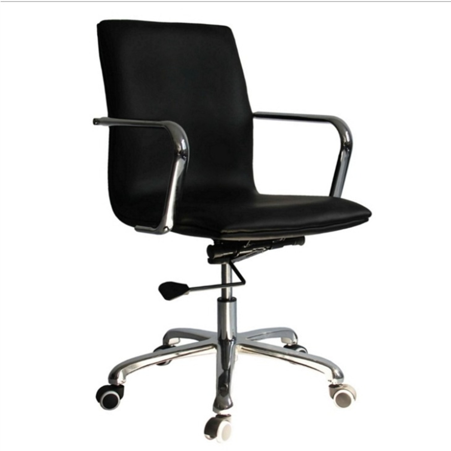Office Chair In Mid-Back Black Leatherette Finish - image-0