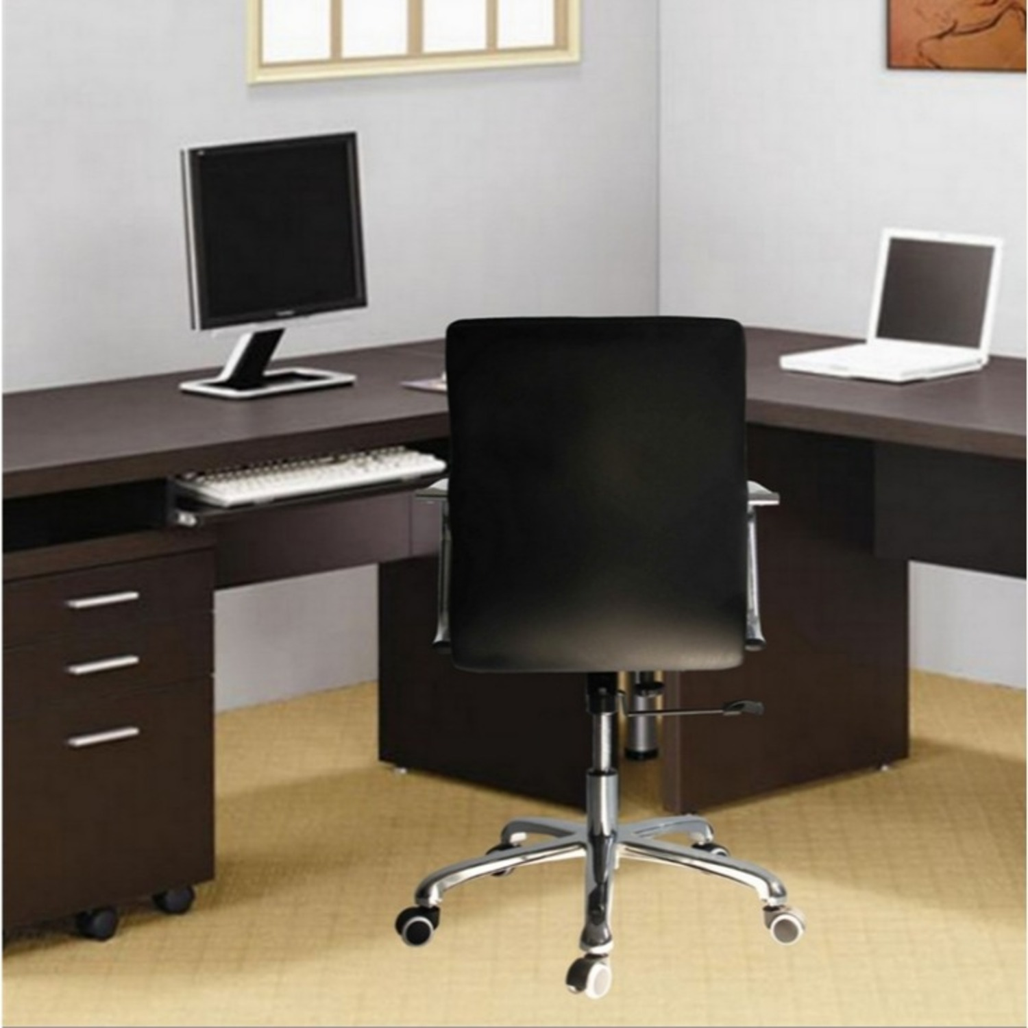 Office Chair In Mid-Back Black Leatherette Finish - image-5