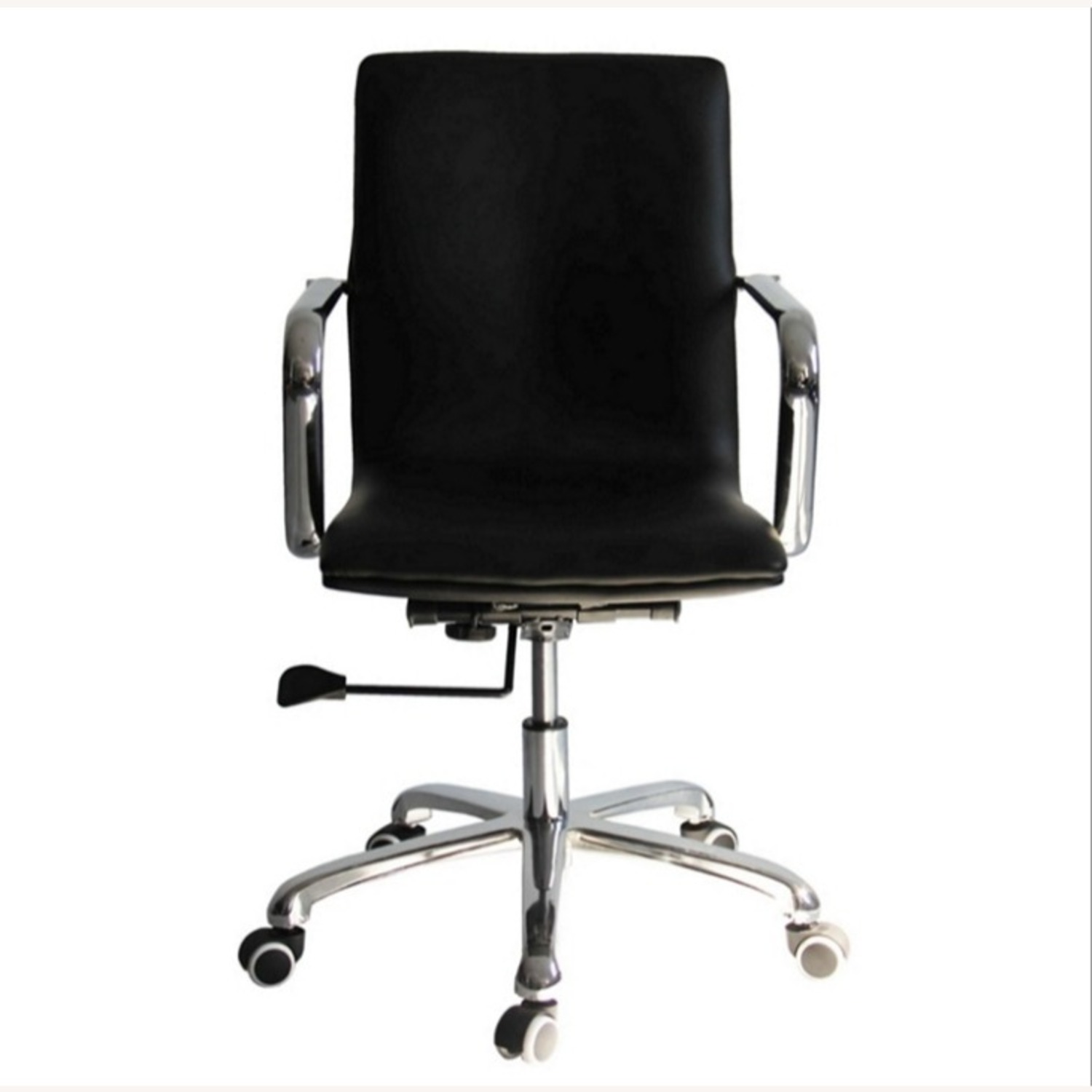 Office Chair In Mid-Back Black Leatherette Finish - image-3