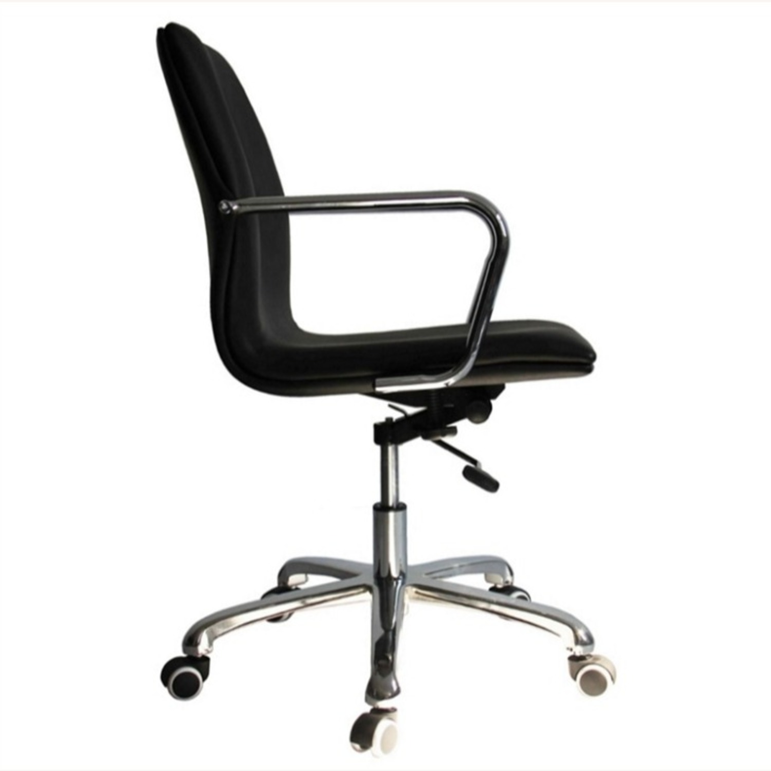 Office Chair In Mid-Back Black Leatherette Finish - image-1