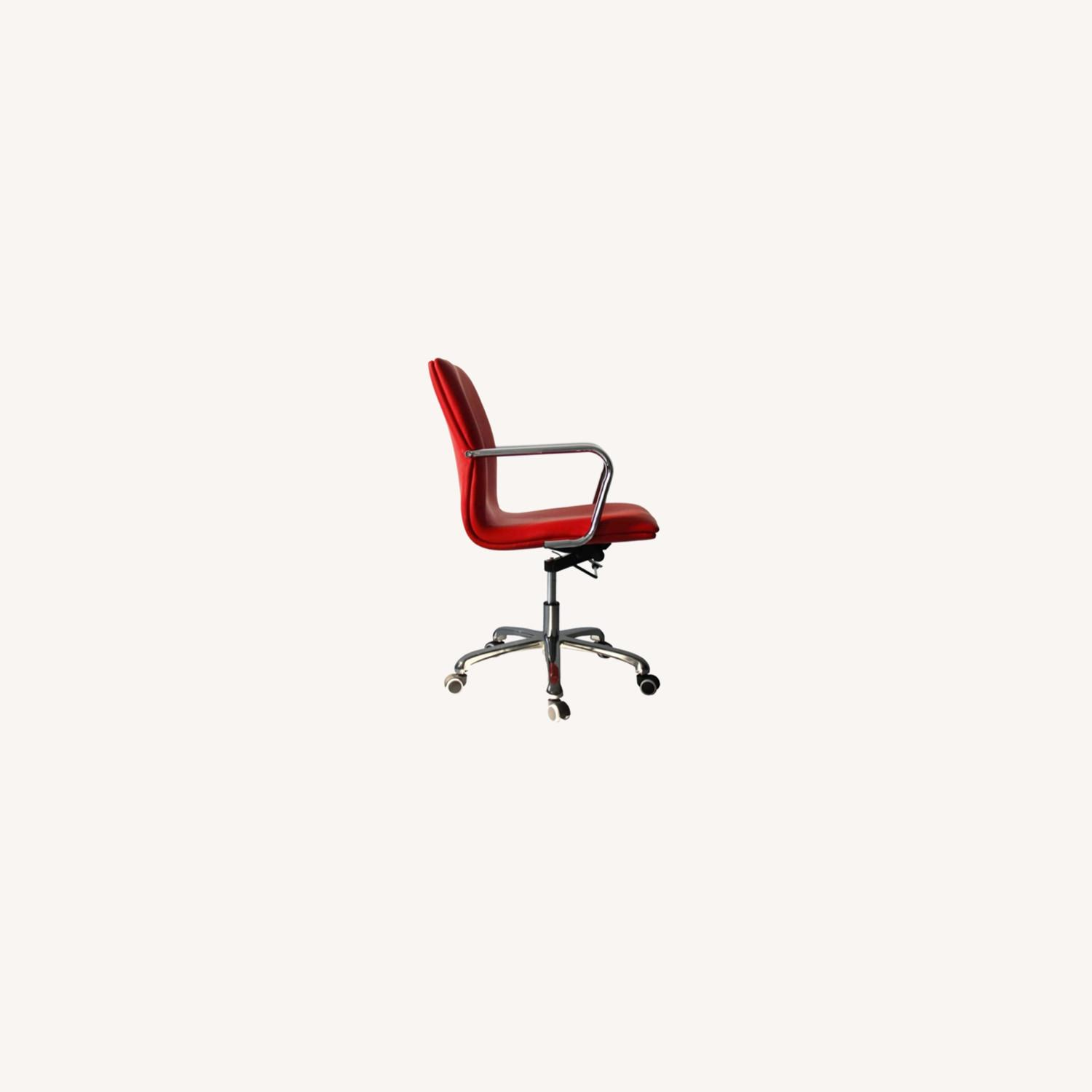 Office Chair In Mid-Back Red Leatherette Finish - image-3