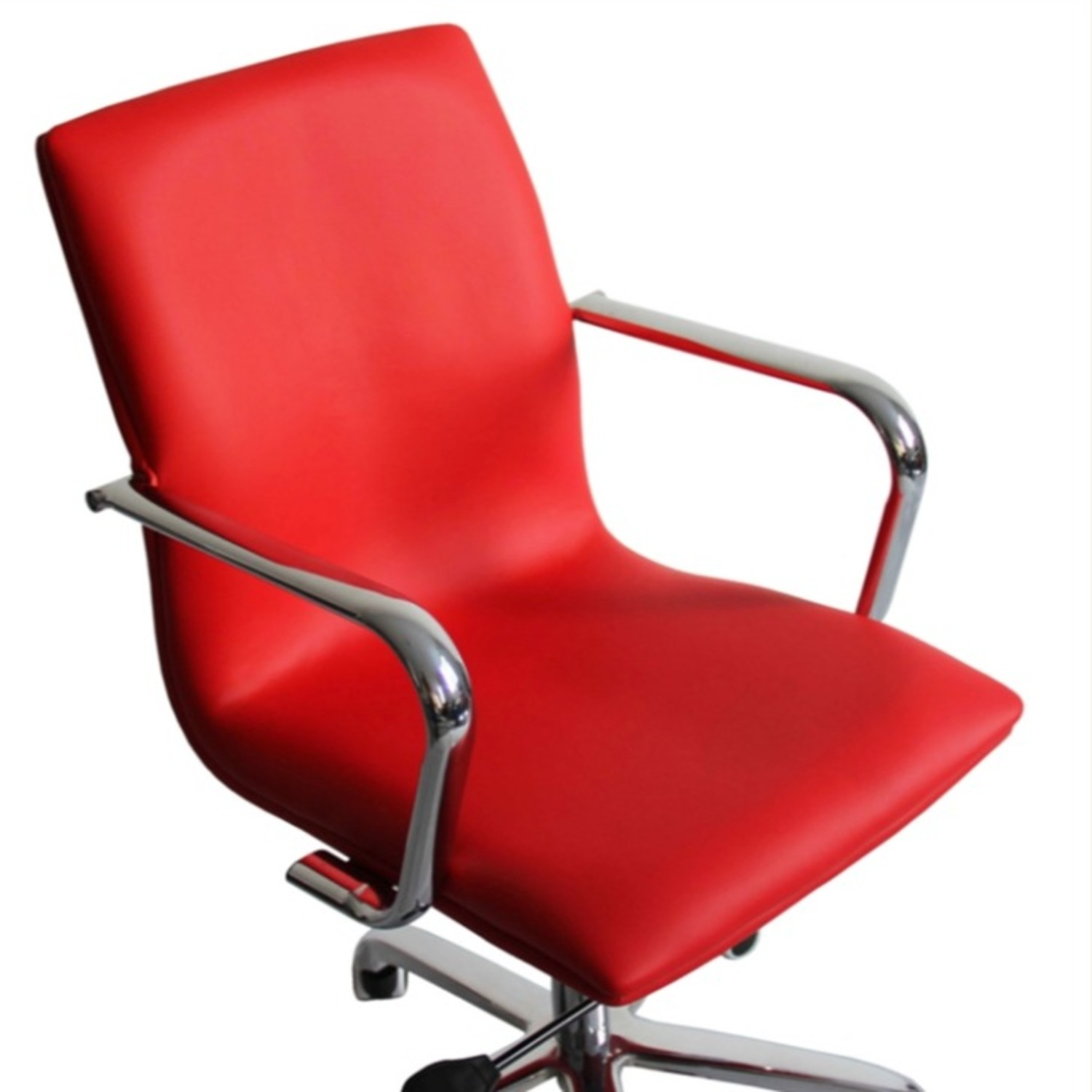 Office Chair In Mid-Back Red Leatherette Finish - image-1