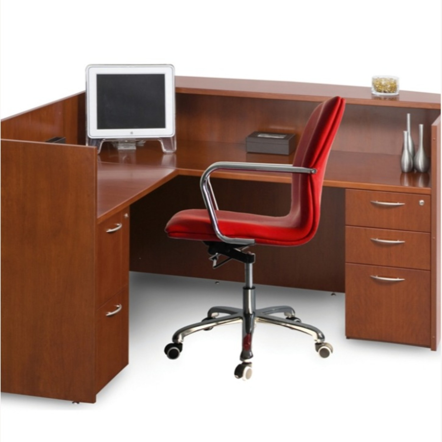 Office Chair In Mid-Back Red Leatherette Finish - image-2