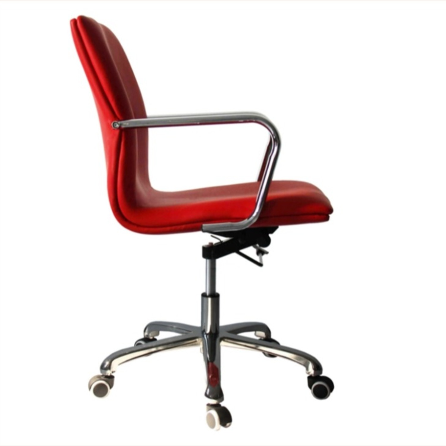 Office Chair In Mid-Back Red Leatherette Finish - image-0