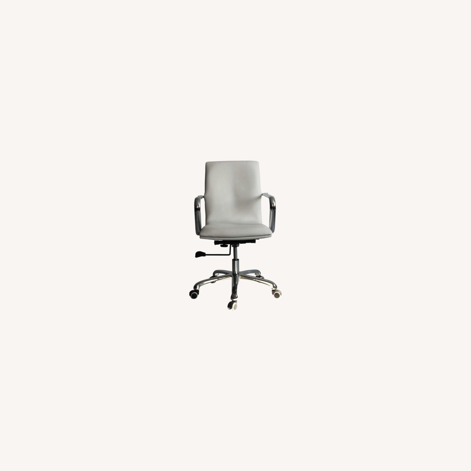 Office Chair In Mid-Back White Leatherette Finish - image-4