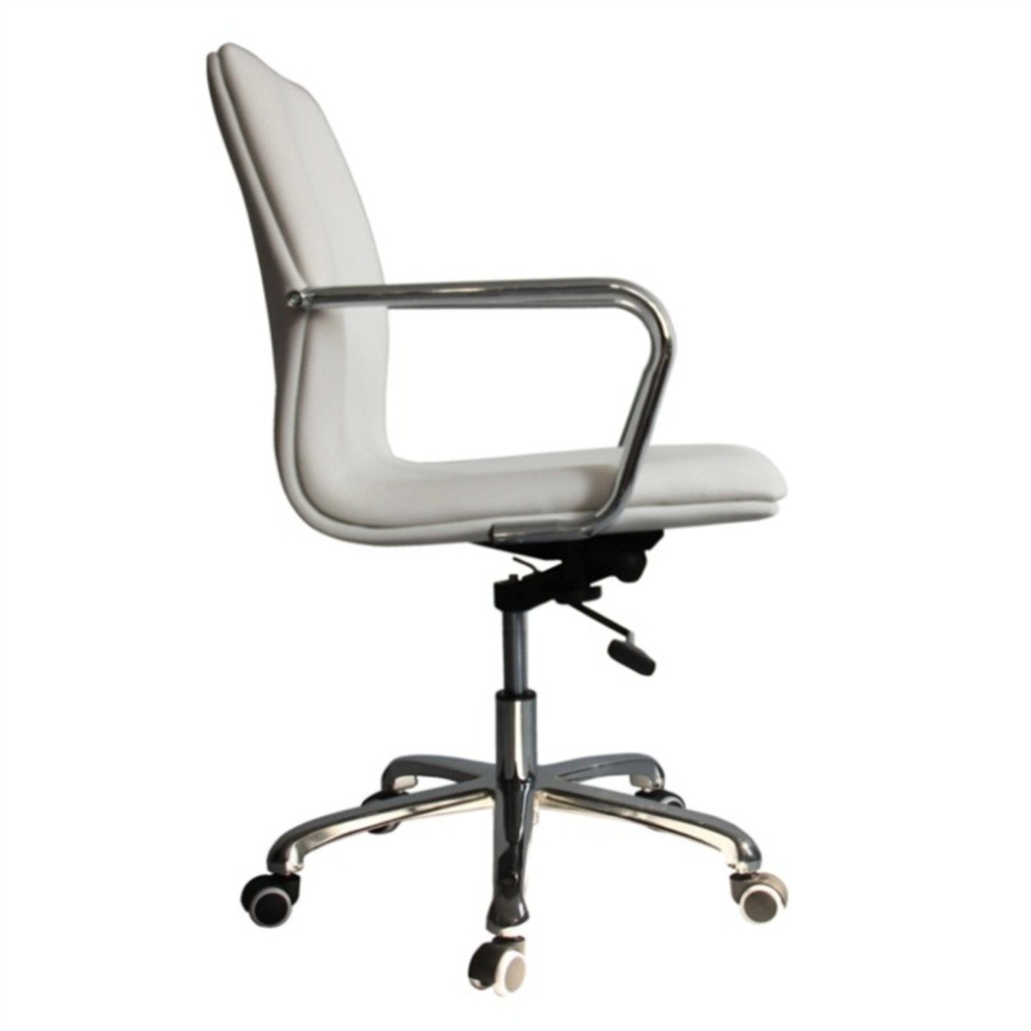 Office Chair In Mid-Back White Leatherette Finish - image-0