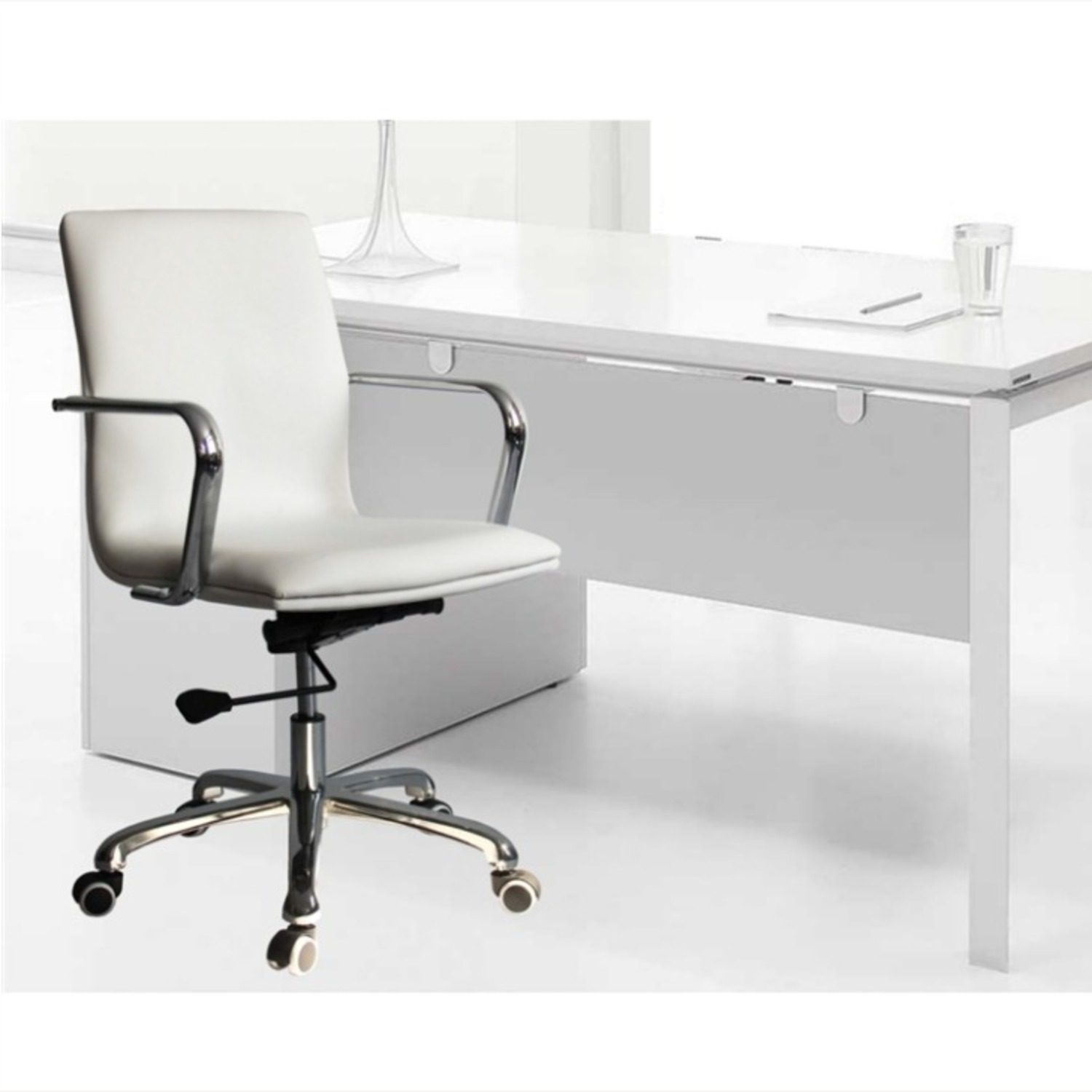 Office Chair In Mid-Back White Leatherette Finish - image-3