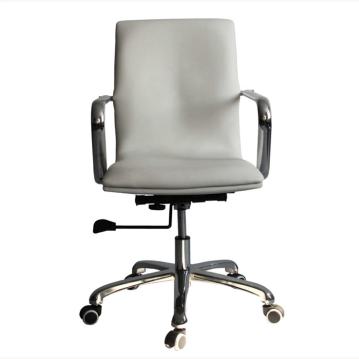 Office Chair In Mid-Back White Leatherette Finish - image-1
