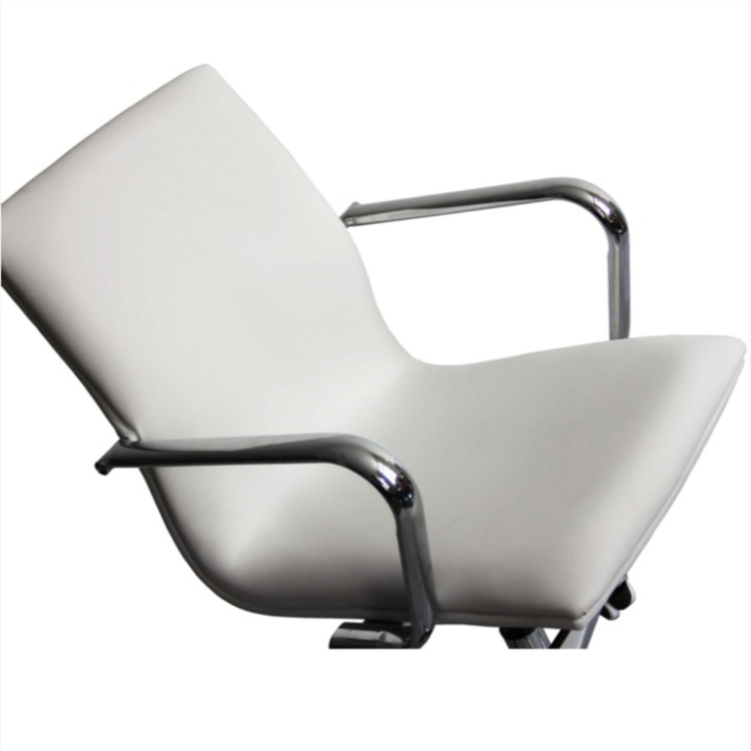 Office Chair In Mid-Back White Leatherette Finish - image-2