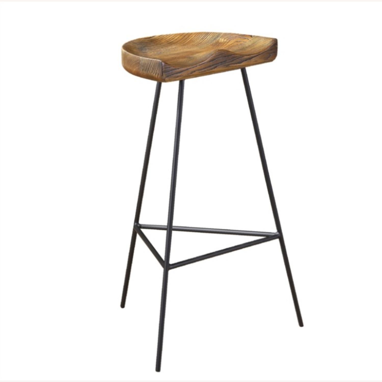 Counter Stool In Ash Wood Finish & Iron Legs - image-0