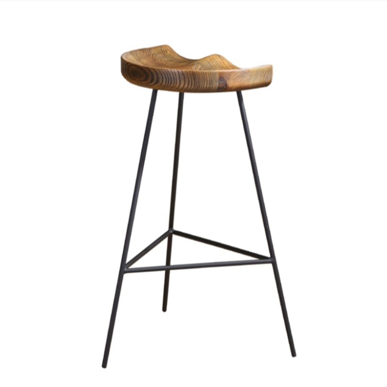Counter Stool In Ash Wood Finish & Iron Legs - image-1