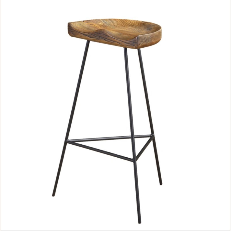 Counter Stool In Ash Wood Finish & Iron Legs - image-3