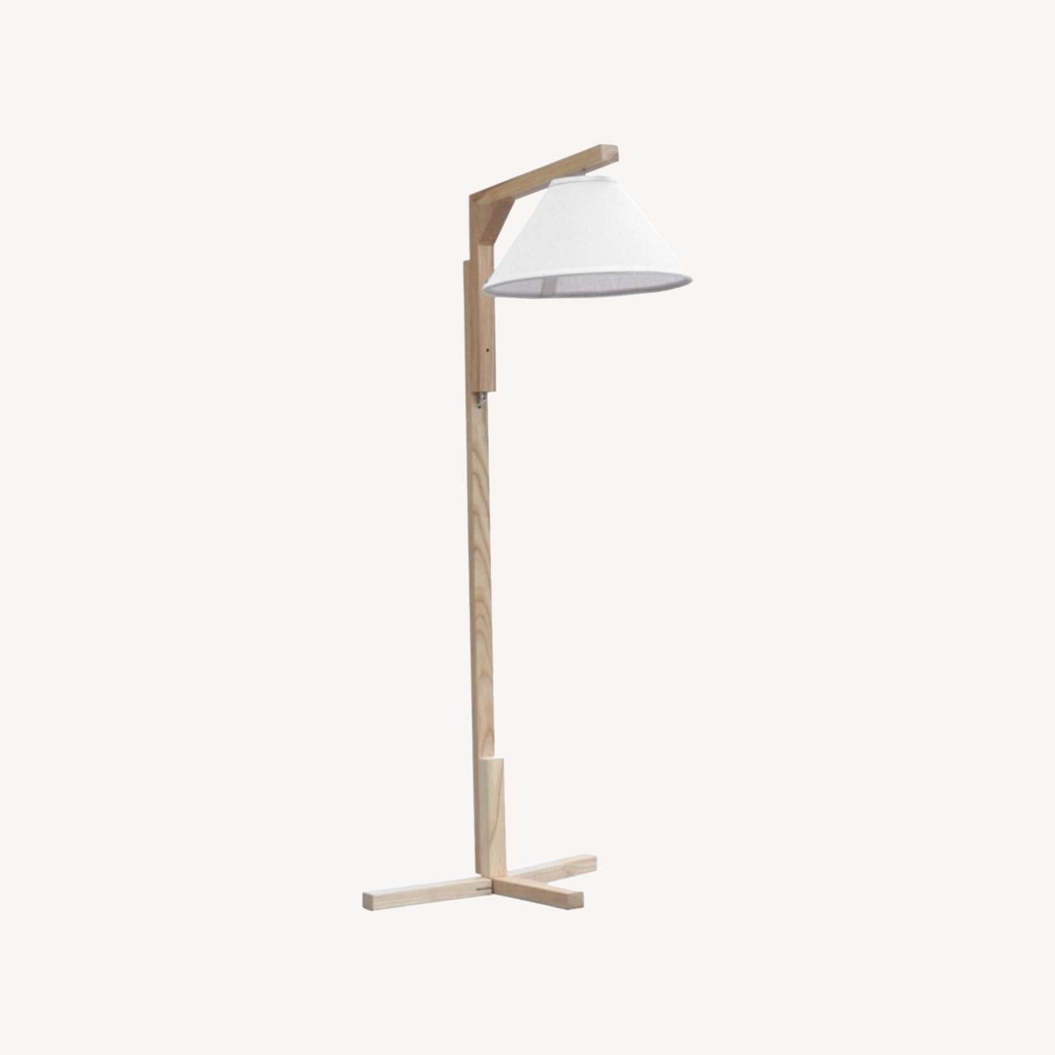 Spiral Floor Lamp In Natural Wood Finish - image-5