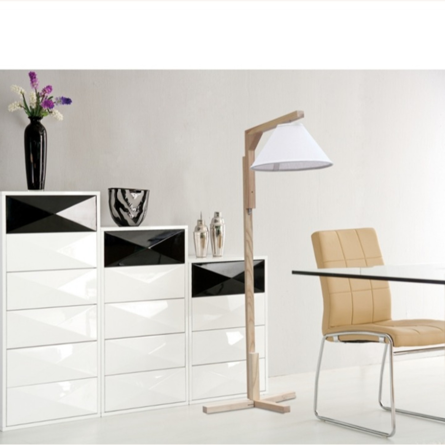 Spiral Floor Lamp In Natural Wood Finish - image-4