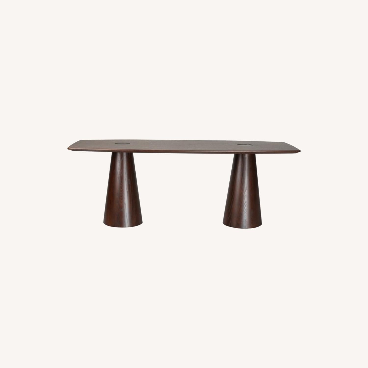 Dining Table Crafted In Mid Walnut Solid Wood - image-7
