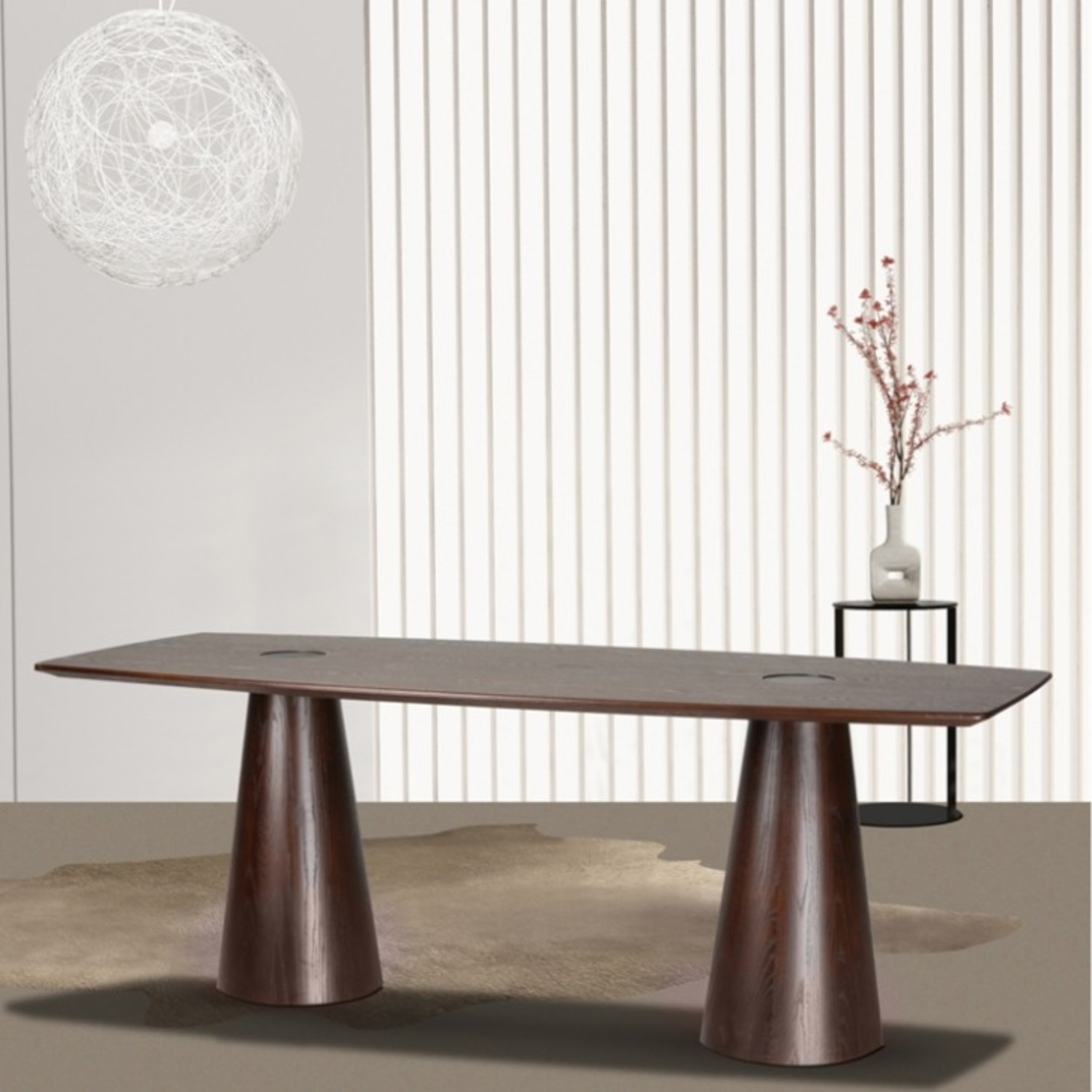 Dining Table Crafted In Mid Walnut Solid Wood - image-6