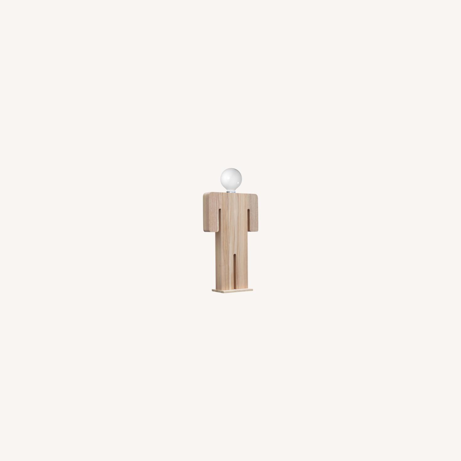 Table Lamp In Natural Wood W/ Male Person Design - image-7