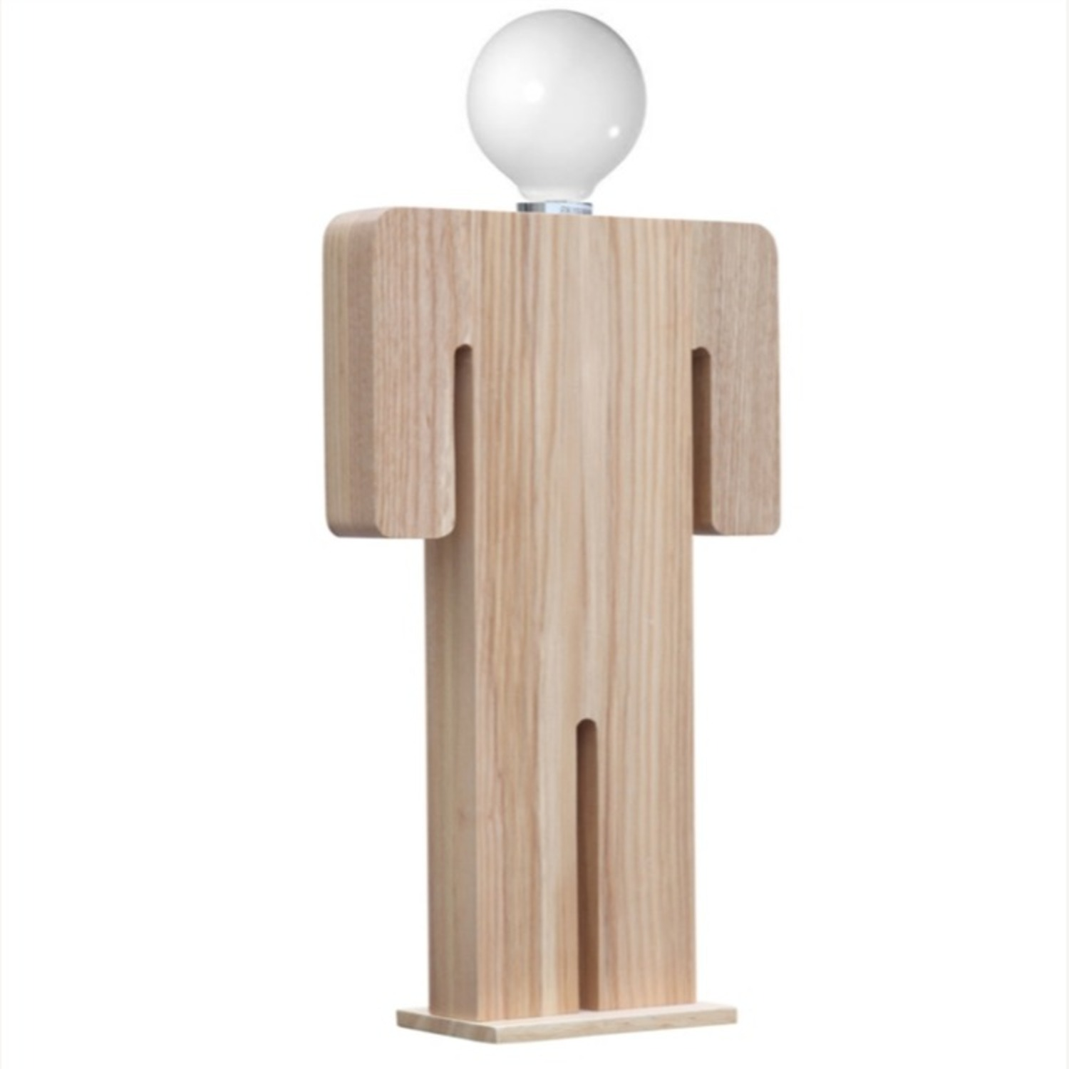 Table Lamp In Natural Wood W/ Male Person Design - image-1