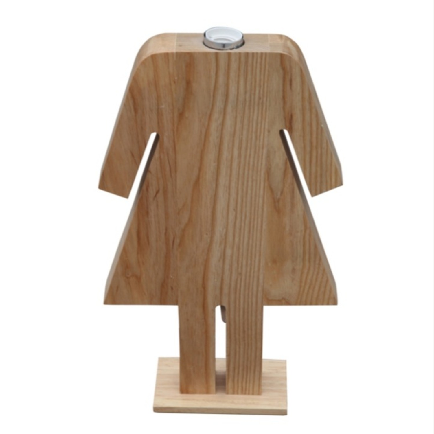Table Lamp In Natural Wood W/ Female Person Design - image-4