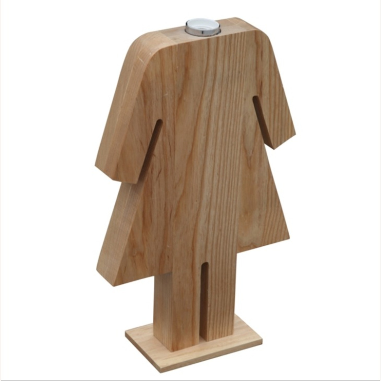 Table Lamp In Natural Wood W/ Female Person Design - image-2