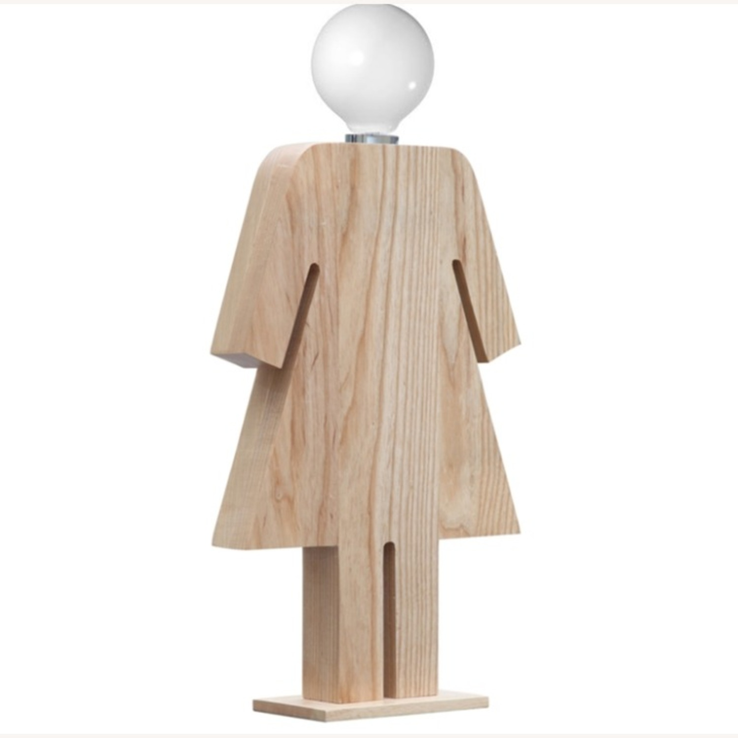 Table Lamp In Natural Wood W/ Female Person Design - image-1