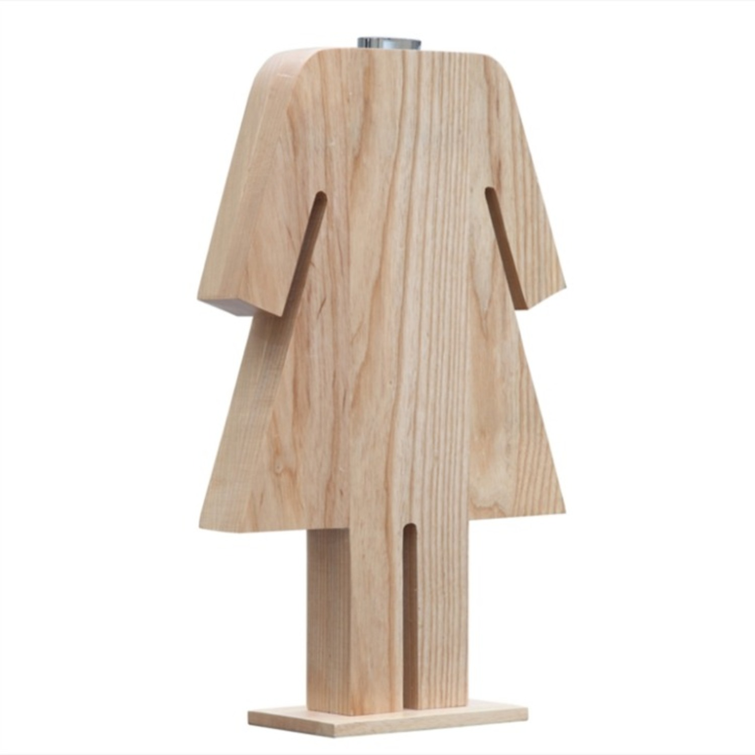 Table Lamp In Natural Wood W/ Female Person Design - image-0