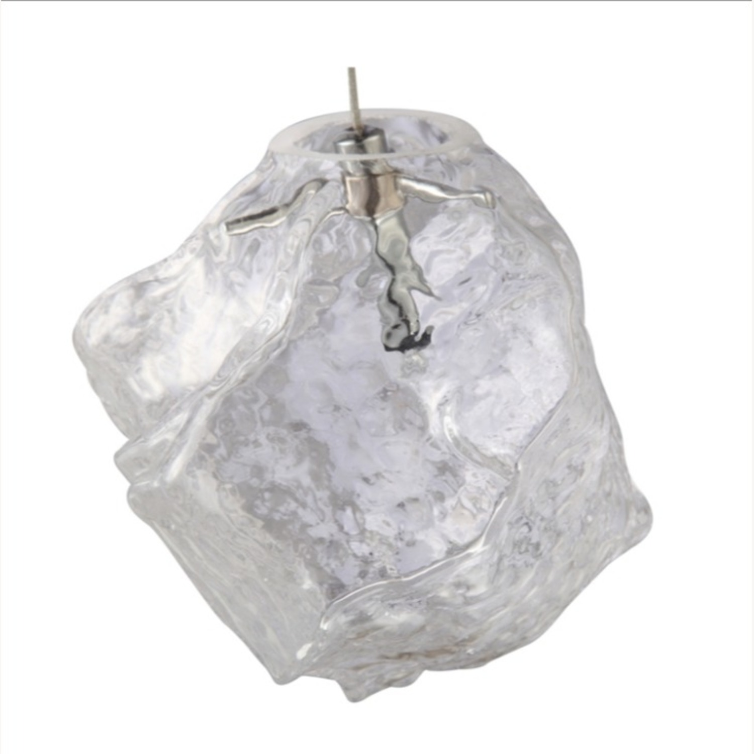 Lamp In Clear Glass Ice Pendant Design - image-2