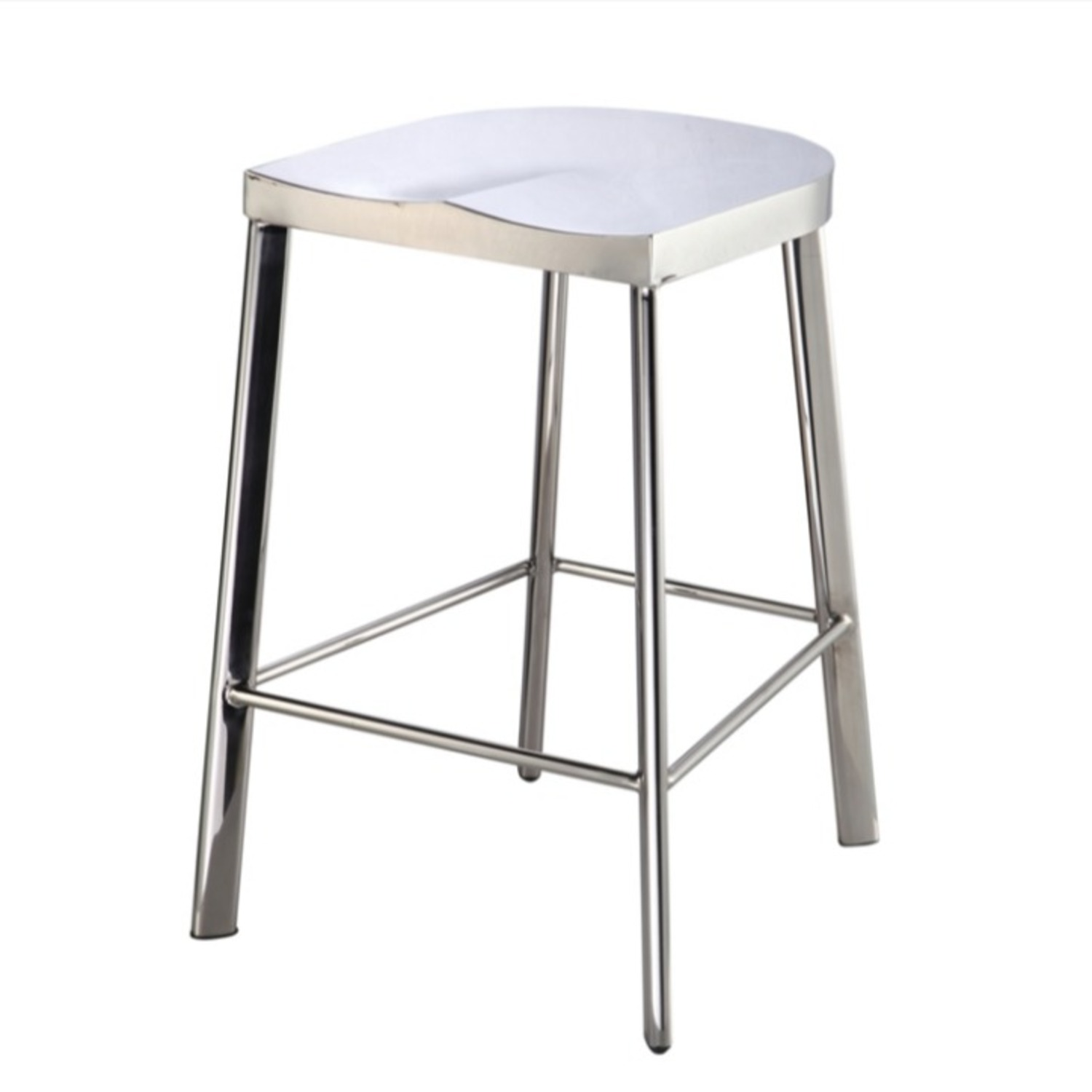Modern Counter Stool In Silver Stainless Steel  - image-4