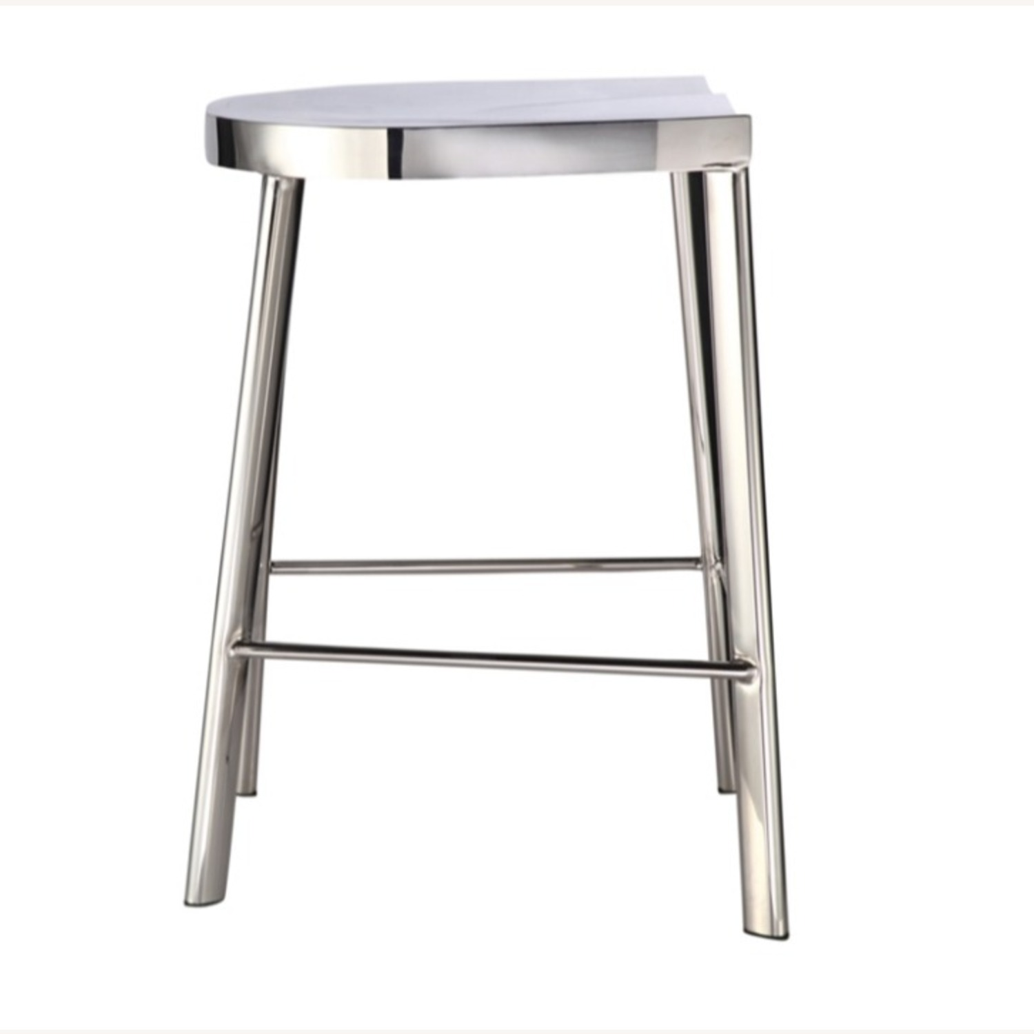 Modern Counter Stool In Silver Stainless Steel  - image-1