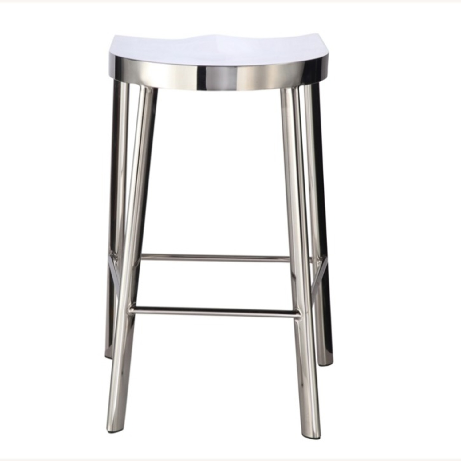 Modern Counter Stool In Silver Stainless Steel  - image-2