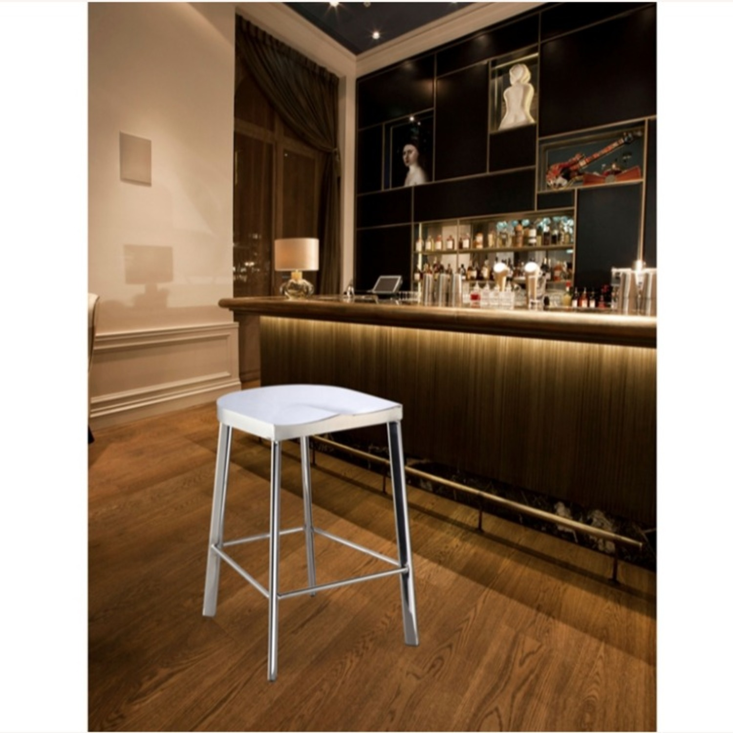 Modern Counter Stool In Silver Stainless Steel  - image-6