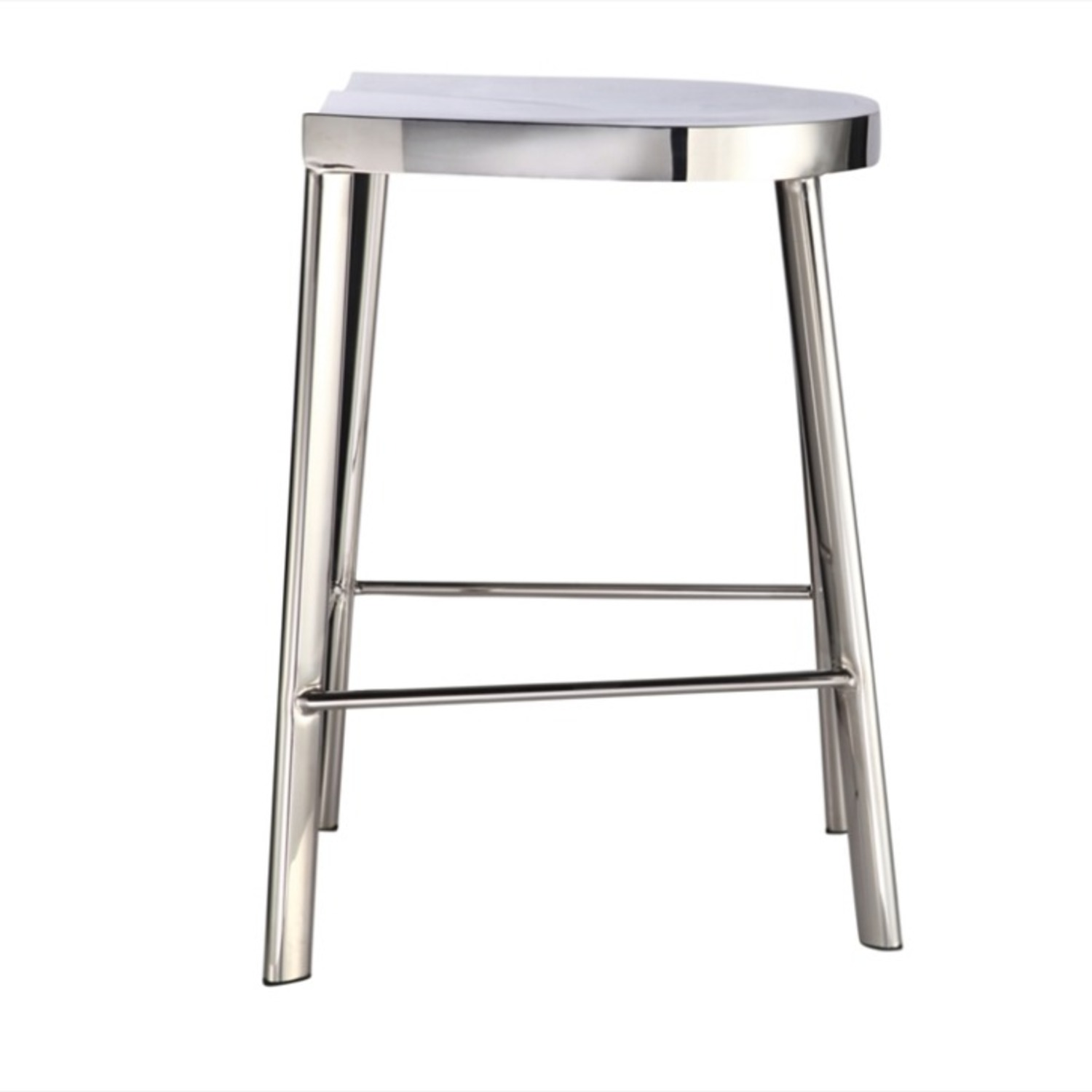 Modern Counter Stool In Silver Stainless Steel  - image-3