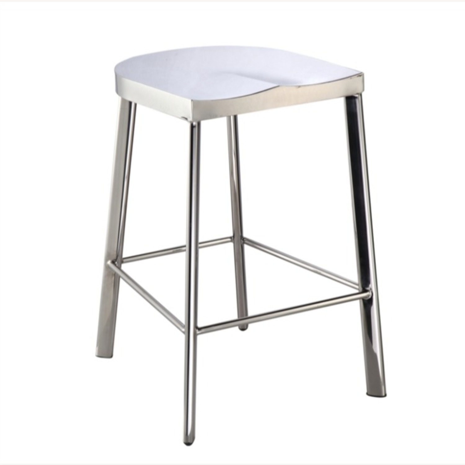 Modern Counter Stool In Silver Stainless Steel  - image-0