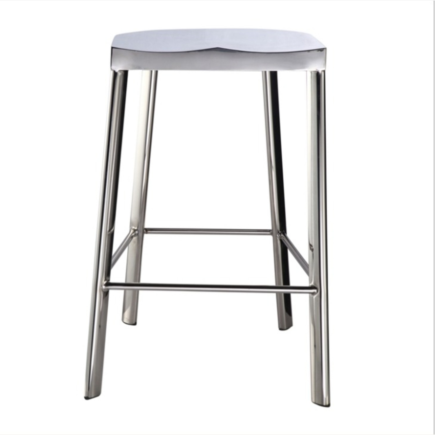 Modern Counter Stool In Silver Stainless Steel  - image-5