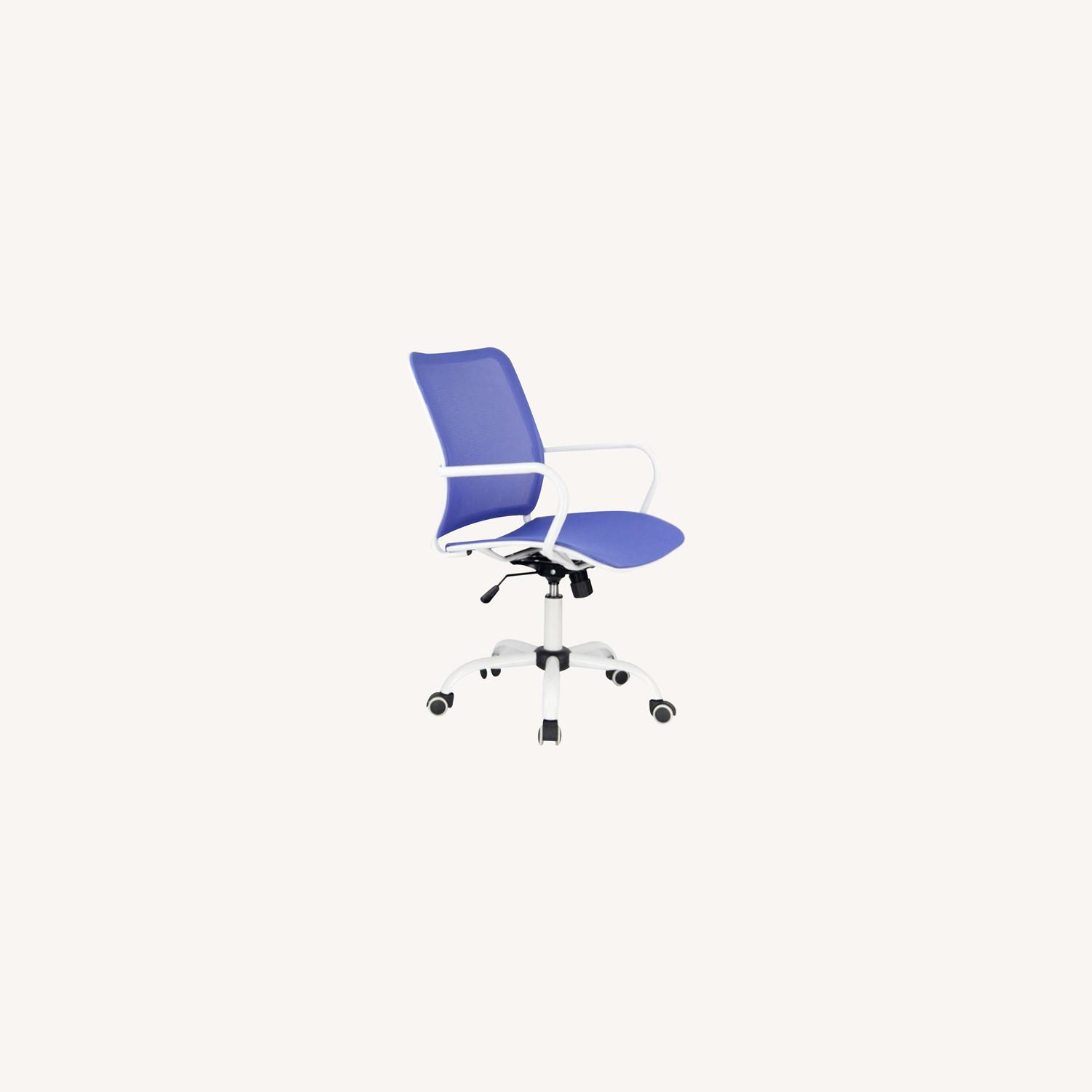 Office Chair In Blue Back & Seat Mesh Finish - image-3