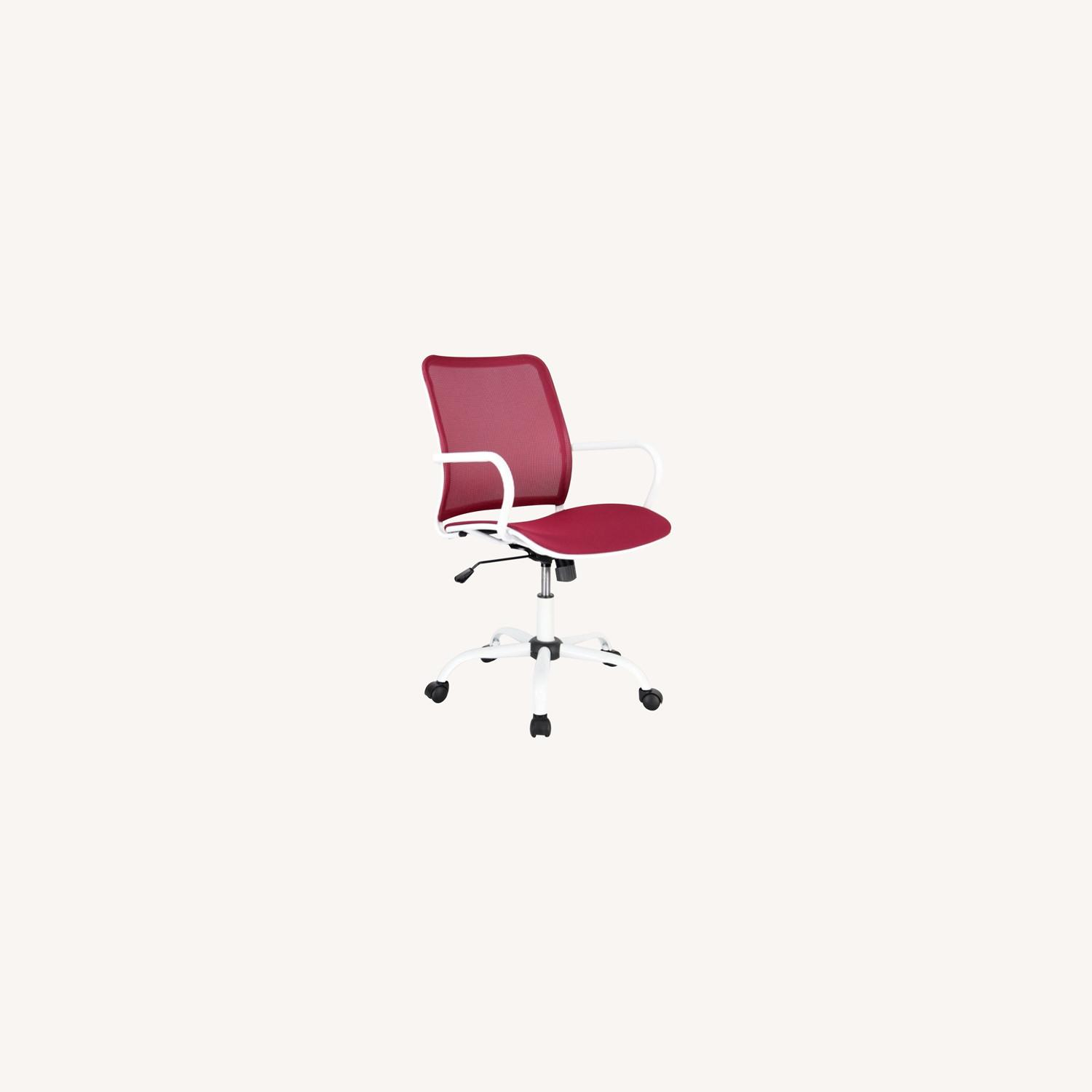 Office Chair In Red Back & Seat Mesh Finish - image-3