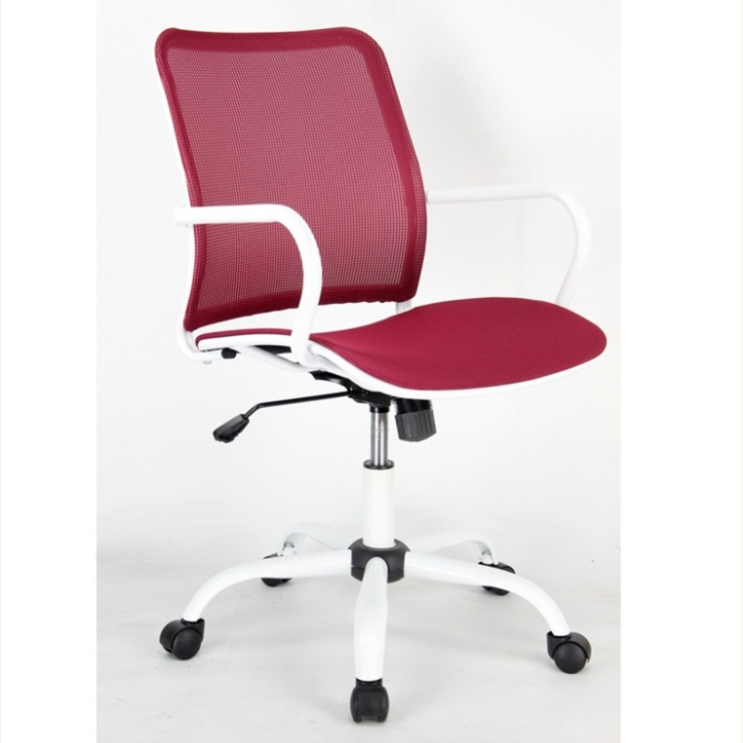 Office Chair In Red Back & Seat Mesh Finish - image-1