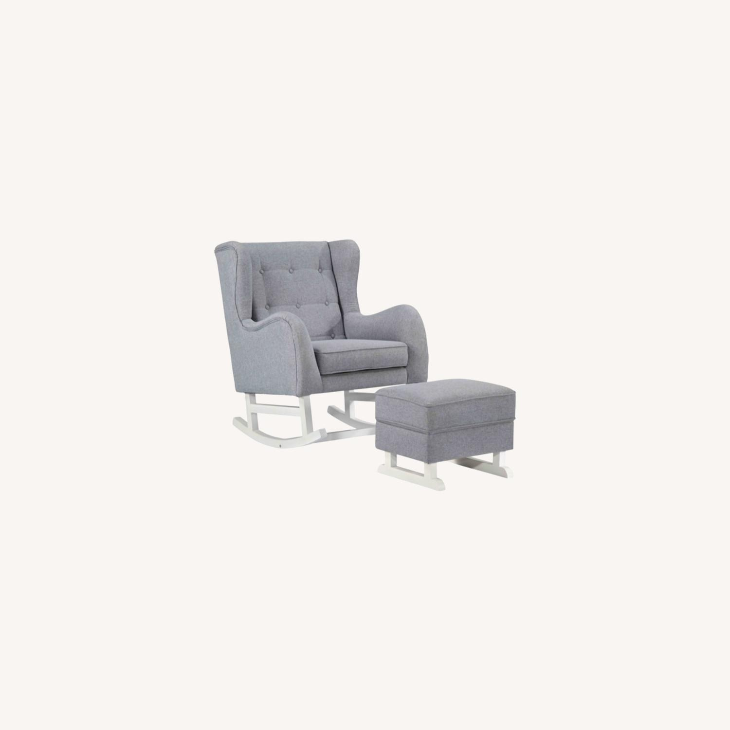 Baby Lounge Chair & Ottoman In Gray Fabric - image-8