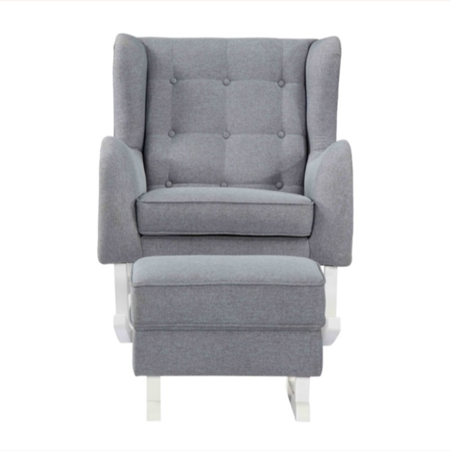 Baby Lounge Chair & Ottoman In Gray Fabric - image-6