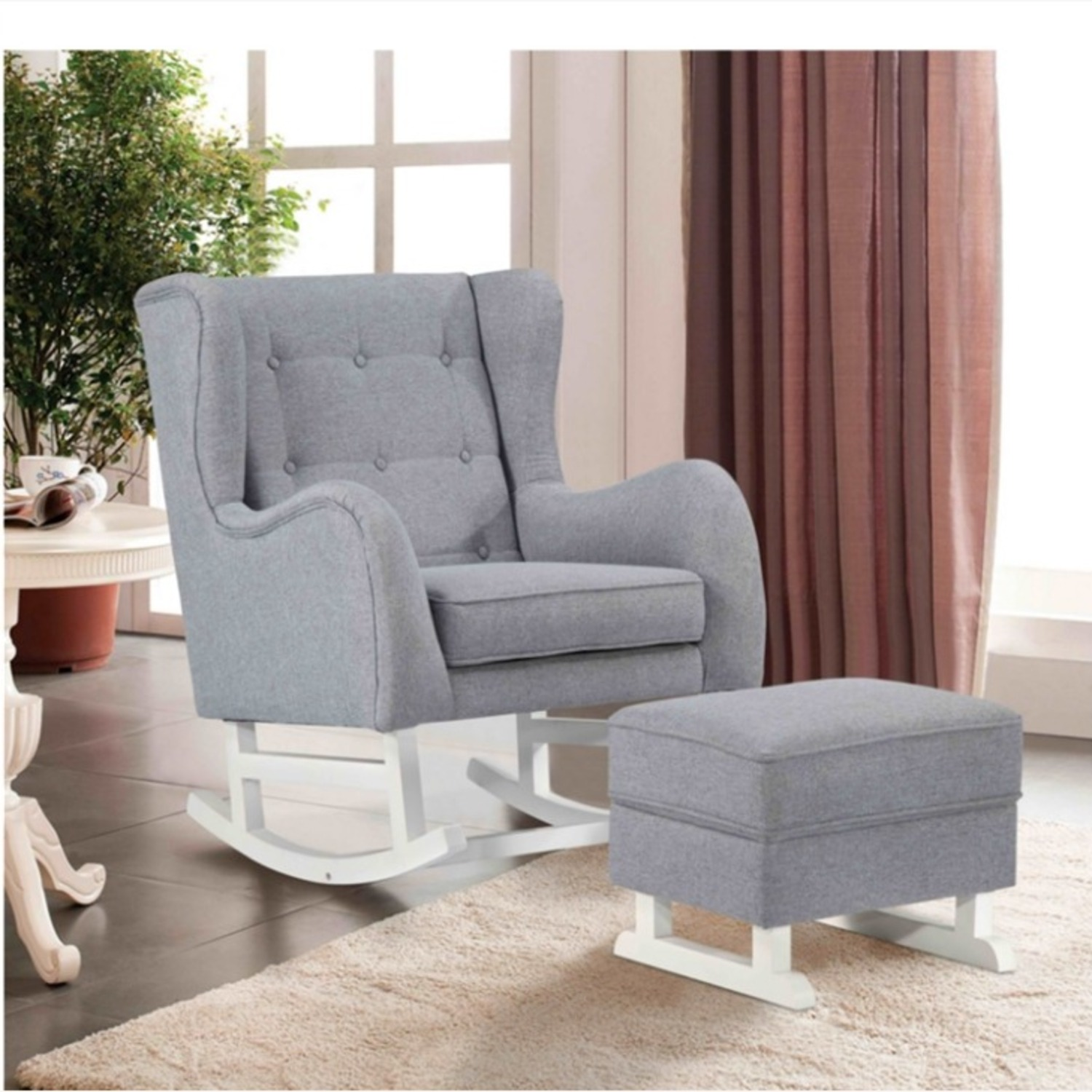 Baby Lounge Chair & Ottoman In Gray Fabric - image-7