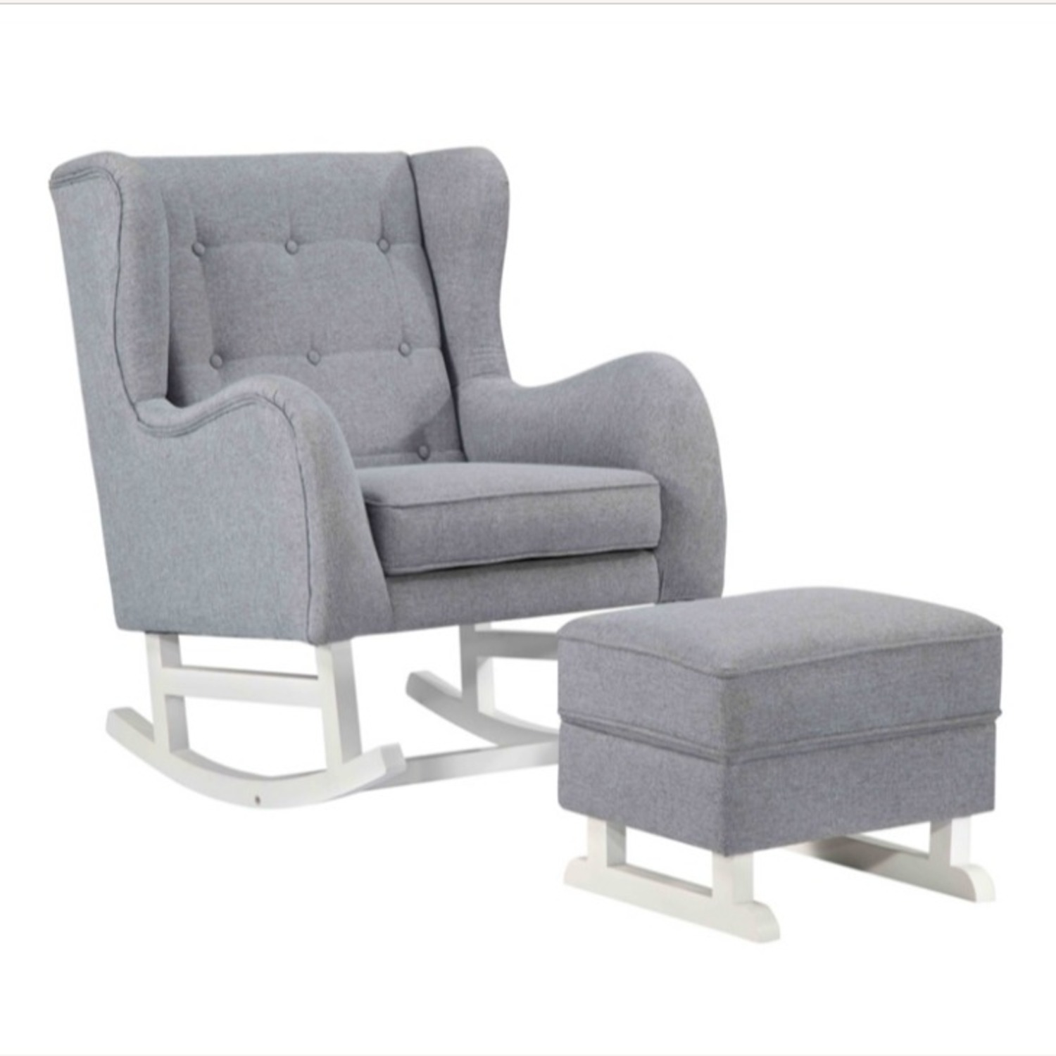 Baby Lounge Chair & Ottoman In Gray Fabric - image-0