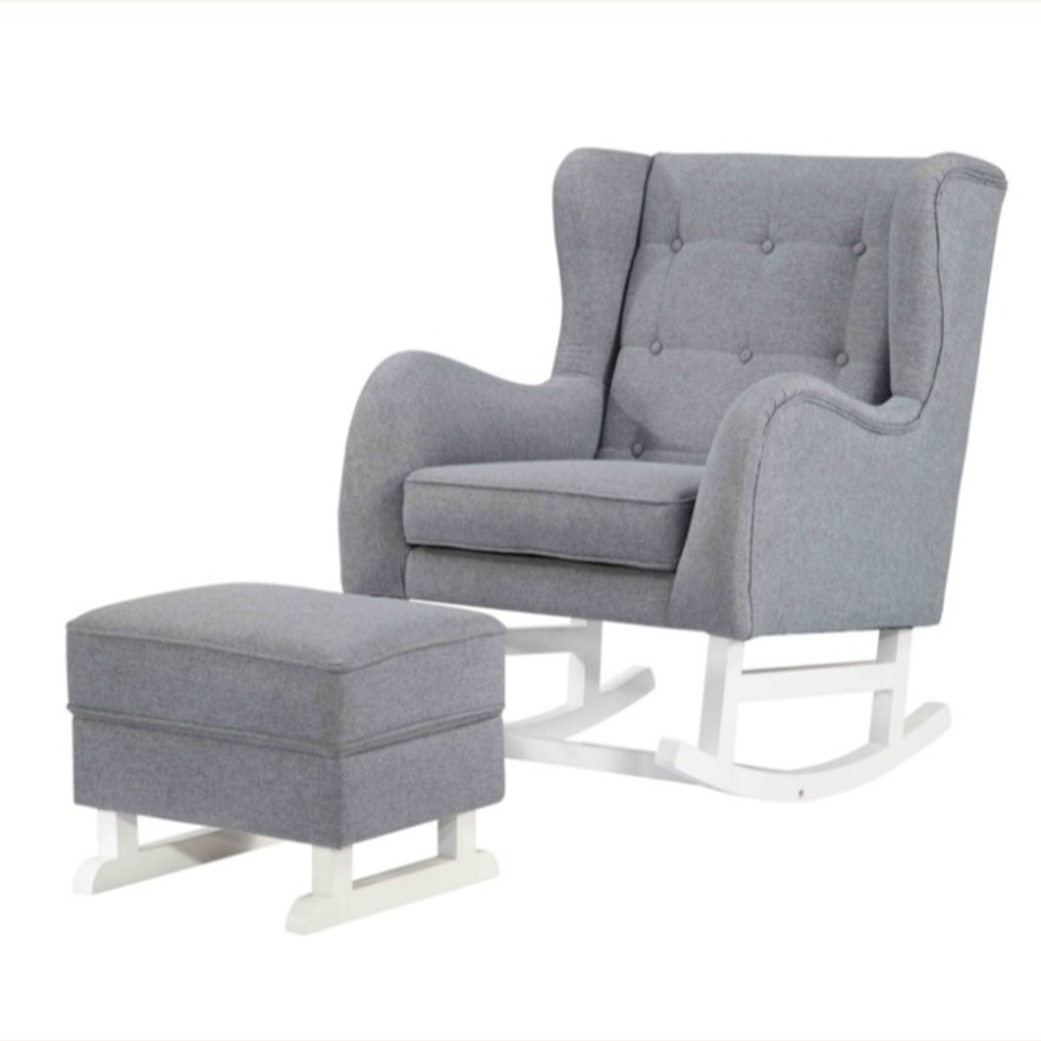Baby Lounge Chair & Ottoman In Gray Fabric - image-5