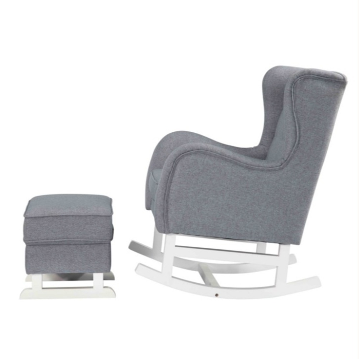 Baby Lounge Chair & Ottoman In Gray Fabric - image-4