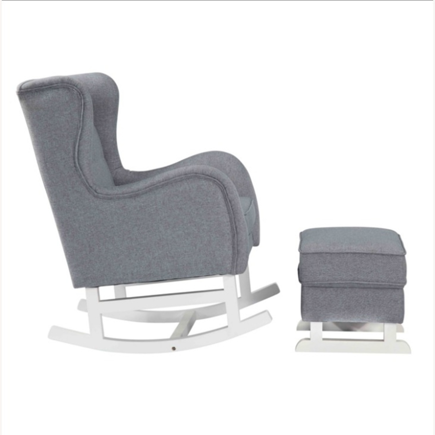 Baby Lounge Chair & Ottoman In Gray Fabric - image-1