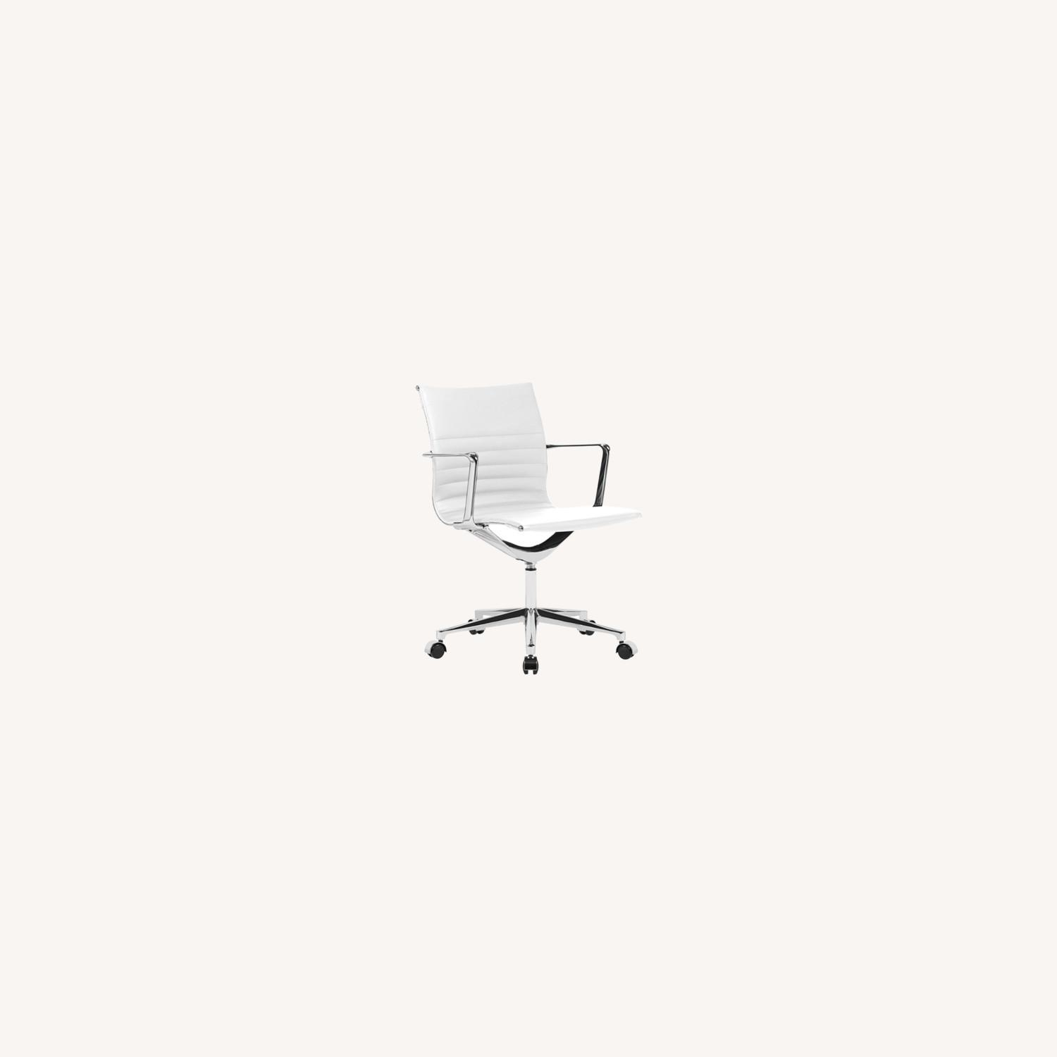 Office Chair In Mid Back W/ White Leatherette - image-3