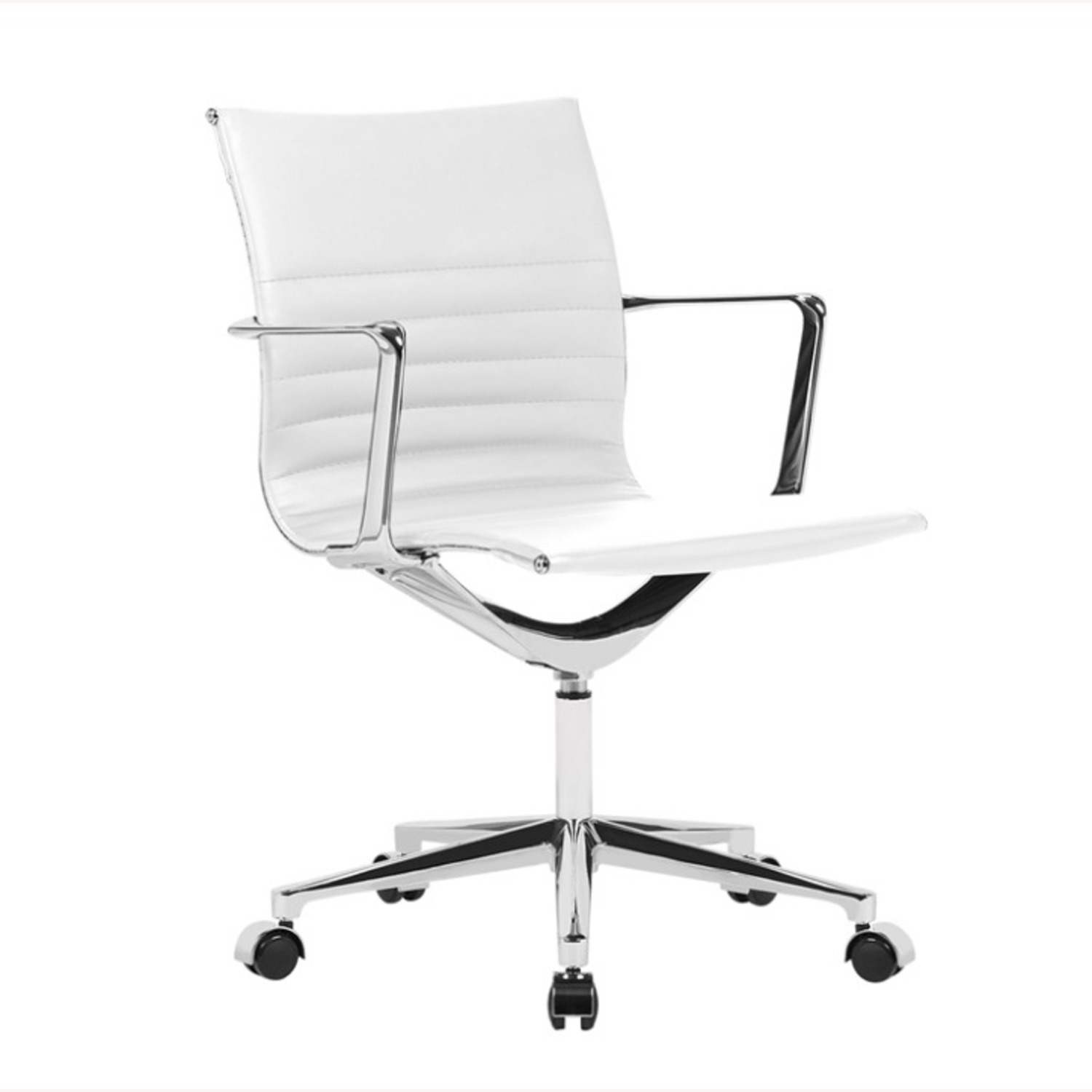 Office Chair In Mid Back W/ White Leatherette - image-1